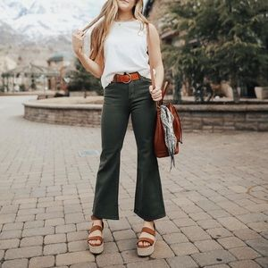 Olive Green Wide Leg Denim
